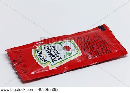 Umea, Norrland Sweden - January 22, 2021: A Disposable Package Of Tomato Ketchup