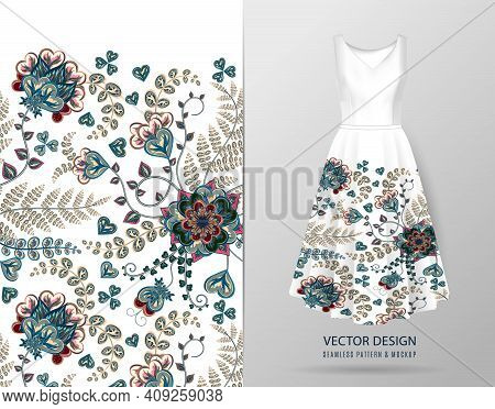 Vertical Seamless Fashion Background. Womens Dress Mock Up With Colorful Seamless Hand Drawn Pattern