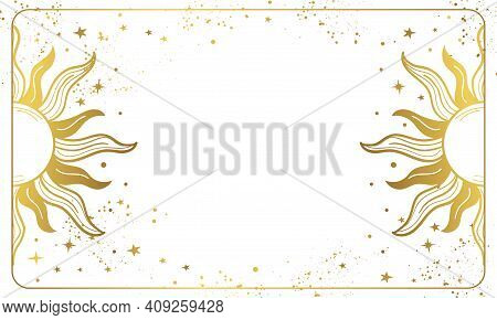 White Magic Background With Golden Sun, Cosmic Boho Poster With Copy Space And Stars. Layout For Ast