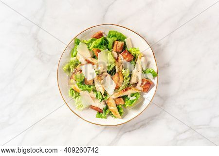 Caesar Salad With Chicken Meat, Green Salad And Parmesan, Overhead Shot