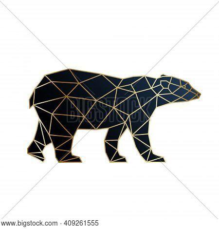 Abstract Gold Geometric Bear Design. Polar Bear Silhouette In Polygonal Style. Vector Template.