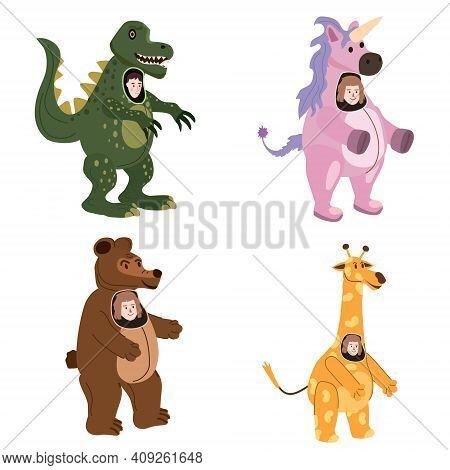 Set Actors In Animal Bear, Giraffe, Dinosaur, Unicorn Costume. Theme Party, Birthday Kid, Children A