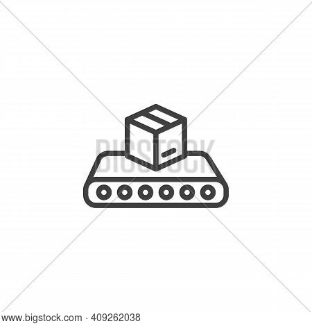 Conveyor Belt With Box Line Icon. Linear Style Sign For Mobile Concept And Web Design. Cargo Logisti