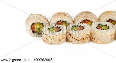 Sushi Roll With Perch Tataki And Salmon In Ponzu Sauce On A White Background, Ingredients Seared Sea