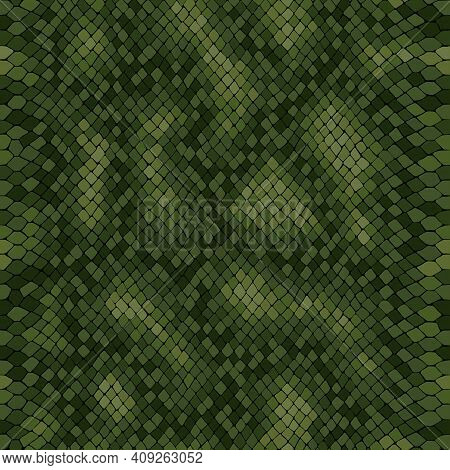 Python Skin Seamless Vector Texture. Green Tone Colors Snake Pattern Ornament For Textile Fabric. Ar