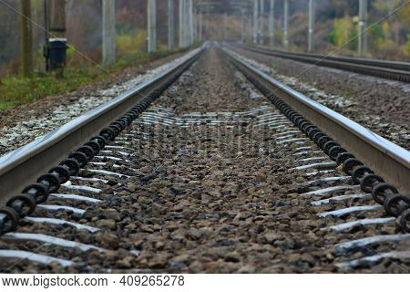 The Railway Goes Into The Distance, The Rails Are Sleepers. Branch Of The High-speed Railway. Mirror