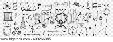 Science Equipment And Attributes Doodle Set. Collection Of Hand Drawn Formulas Telescope Scales Arch