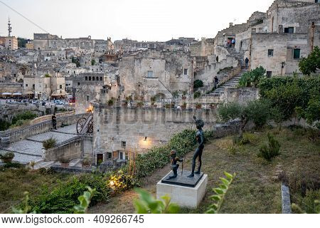 Matera; Italy - September 17; 2019: Evening View Of The City Of Matera; Italy; With The Colorful Lig