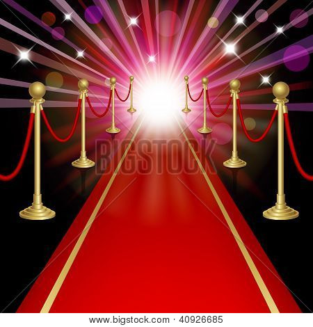 Red carpet with guard. Clipping Mask. Mesh.This file contains transparency.EPS10 poster