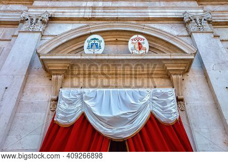 The Entrance Of The Roman Catholic Church Sant'alessandro In Colonna (saint Alexander Church). The B