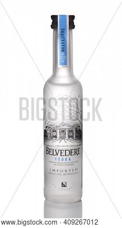 IRVINE, CA - JANUARY 15, 2015: A bottle of Belvedere Vodka. The brand was launched in the United States in 1996 as a luxury liquor as the world's first 'super premium vodka'.