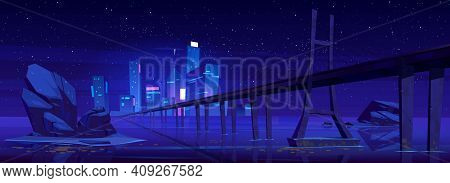 City Skyline With Buildings And Bridge Above Lake Or River At Night. Vector Cartoon Landscape Of Sea