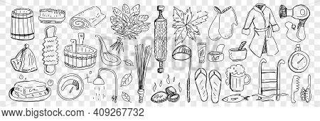 Bath And Sauna Attributes Doodle Set. Collection Of Hand Drawn Bathrobe, Hot Stones, Basins, Slipper