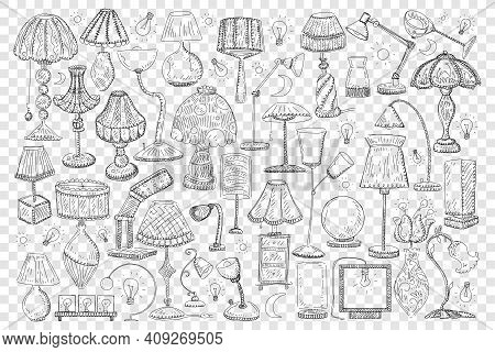 Lamps And Shades Doodle Set. Collection Of Hand Drawn Elegant Shades And Lamps For Home Decoration O