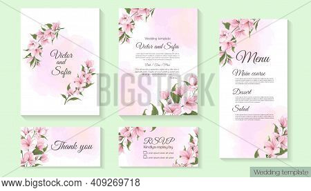 Floral Template For Wedding Invitation. Pink Delicate Sakura, Magnolia, Watercolor Background. Card