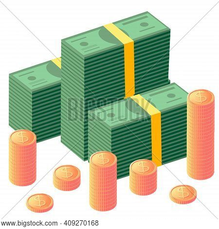 Vector Illustration Of Earnings. Wad Of Money And Coins