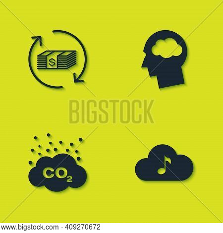 Set Refund Money, Music Streaming Service, Co2 Emissions Cloud And Head Silhouette With Icon. Vector