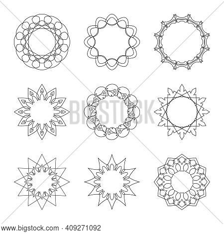 Vector Set Of Circular Banners With Thin Intersecting Lines. Circle Frame In The Form Of Snowflakes