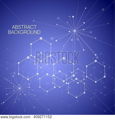 Techno Abstract Background With Particle, Hexagons, Atom, Molecule Structure. Genetic And Chemical C