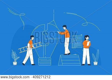 Flat Style Idea Brainstorming Creative Team Concept Web Infographics Vector Illustration. Creative P