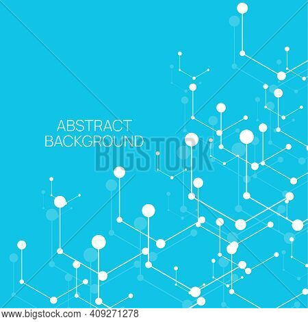 Scientific Abstract Background With Particle, Hexagons, Atom, Molecule Structure. Genetic And Chemic