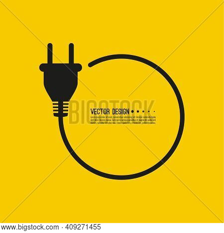 Electric Plug Icon With Cable. Vector Isolated Illustration On Yellow Background.