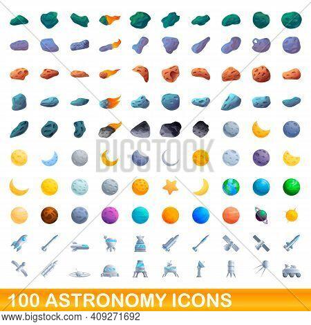 100 Astronomy Icons Set. Cartoon Illustration Of 100 Astronomy Icons Vector Set Isolated On White Ba