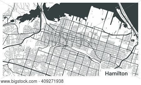 Map Of Hamilton City, Ontario, Canada. Horizontal Background Map Poster Black And White Land, Street