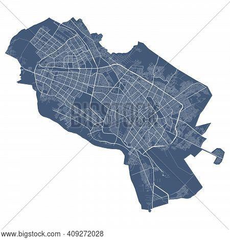 Mashhad Map. Detailed Vector Map Of Mashhad City Administrative Area. Cityscape Poster Metropolitan
