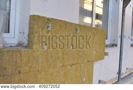 High Performance External Mineral Wool Insulation: A Close-up Of Mineral Wool Batts, Boards Installa