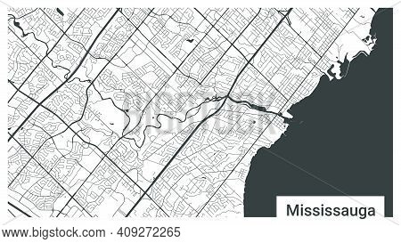 Map Of Mississauga City, Ontario, Canada. Horizontal Background Map Poster Black And White Land, Str
