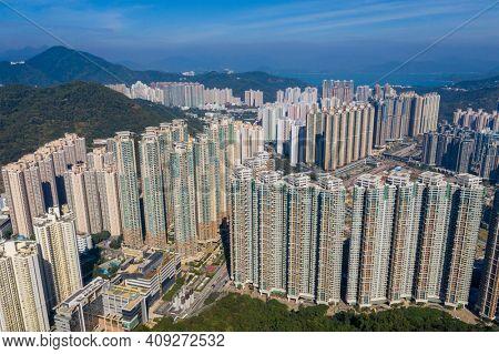 Tseung Kwan O, Hong Kong 21 December 2020: Drone fly over Hong Kong city