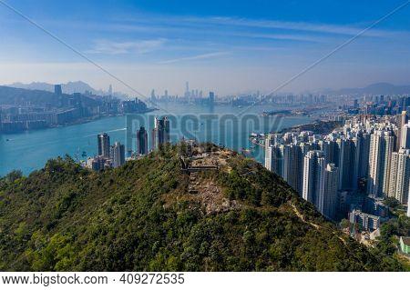 Yau Tong, Hong Kong 21 December 2020: Top view of Hong Kong city