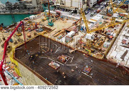 Yau Tong, Hong Kong 18 September 2020: Top view of construction site
