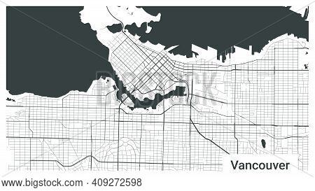 Map Of Vancouver City, British Columbia, Canada. Horizontal Background Map Poster Black And White La