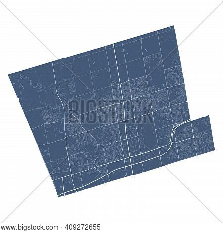 Vaughan Map. Detailed Vector Map Of Vaughan City Administrative Area. Cityscape Poster Metropolitan