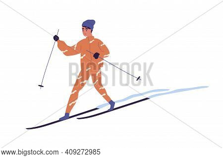 Teenager Skiing On Snowy Track. Skier With Poles Sliding On Snow. Winter Activity. Colored Flat Vect