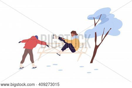 People Skating On Outdoor Ice Rink. Man And Woman Spending Leisure Time Doing Winter Sport. Colored