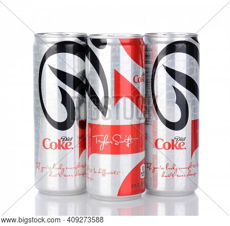 IRVINE, CA - January 05, 2014: Photo of 3, 12 ounce cans of Diet Coke, with Taylor Swift design. Coca-Cola is the one of the worlds favorite carbonated beverages.