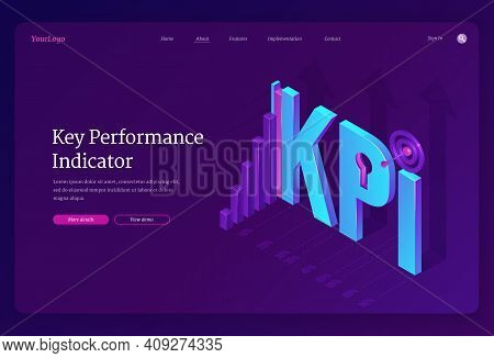 Key Performance Indicators Banner. Concept Of Measurement Success Of Company Strategy, Implement Obj