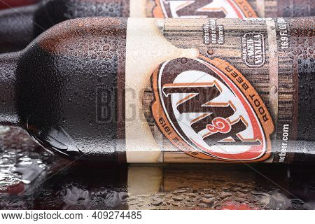 IRVINE, CALIFORNIA - MARCH 10,  2018: A and W Root Beer bottles closeup. Owned by Dr Pepper Snapple Group and distributed by the Coca-Cola Company in the USA.