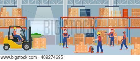Warehouse Interior With Cardboard Boxes. Staff Surrounded By Boxes On Rack And Transport Of Storehou