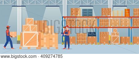 Warehouse Interior With Cardboard Boxes On Metal Racks And Working People.. Warehouse Interior With