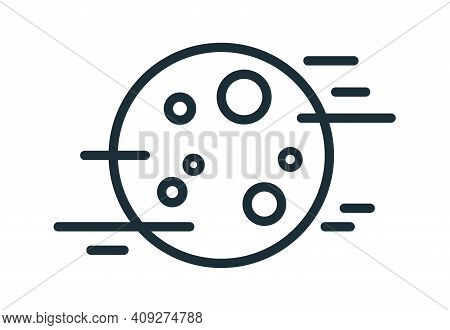 Simple Weather Icon With Fog And Full Moon With Craters. Symbol Of Foggy Night Time In Line Art Styl