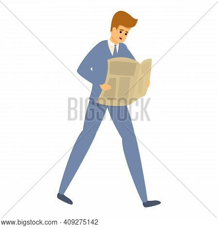 Careless Businessman With Newspaper Icon. Cartoon Of Careless Businessman With Newspaper Vector Icon