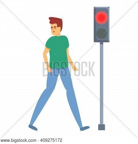 Careless Man Red Traffic Light Icon. Cartoon Of Careless Man Red Traffic Light Vector Icon For Web D