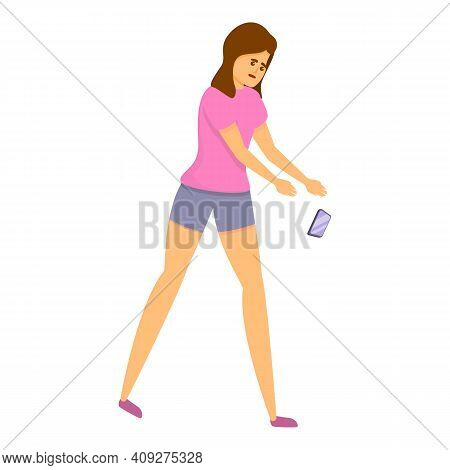 Careless Girl With Smartphone Icon. Cartoon Of Careless Girl With Smartphone Vector Icon For Web Des
