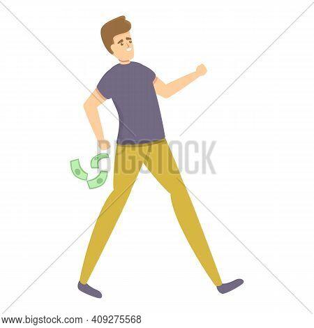 Careless Man Money Cash Icon. Cartoon Of Careless Man Money Cash Vector Icon For Web Design Isolated
