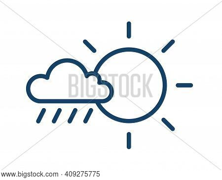 Rainy And Sunny Weather Icon In Line Art Style With Sun And Cloud With Raindrops. Partly Sunny With