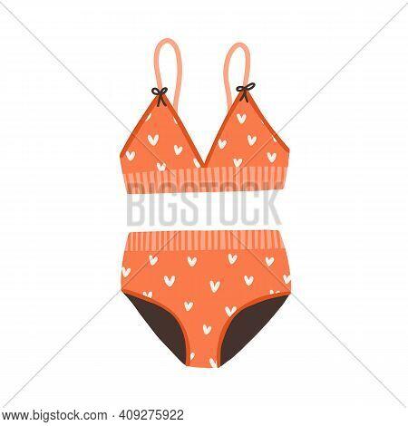 Female Two-piece Swimsuit. Top And Bottom Of Swimwear. Women Bikini With Pattern, Wireless Cups, Wid